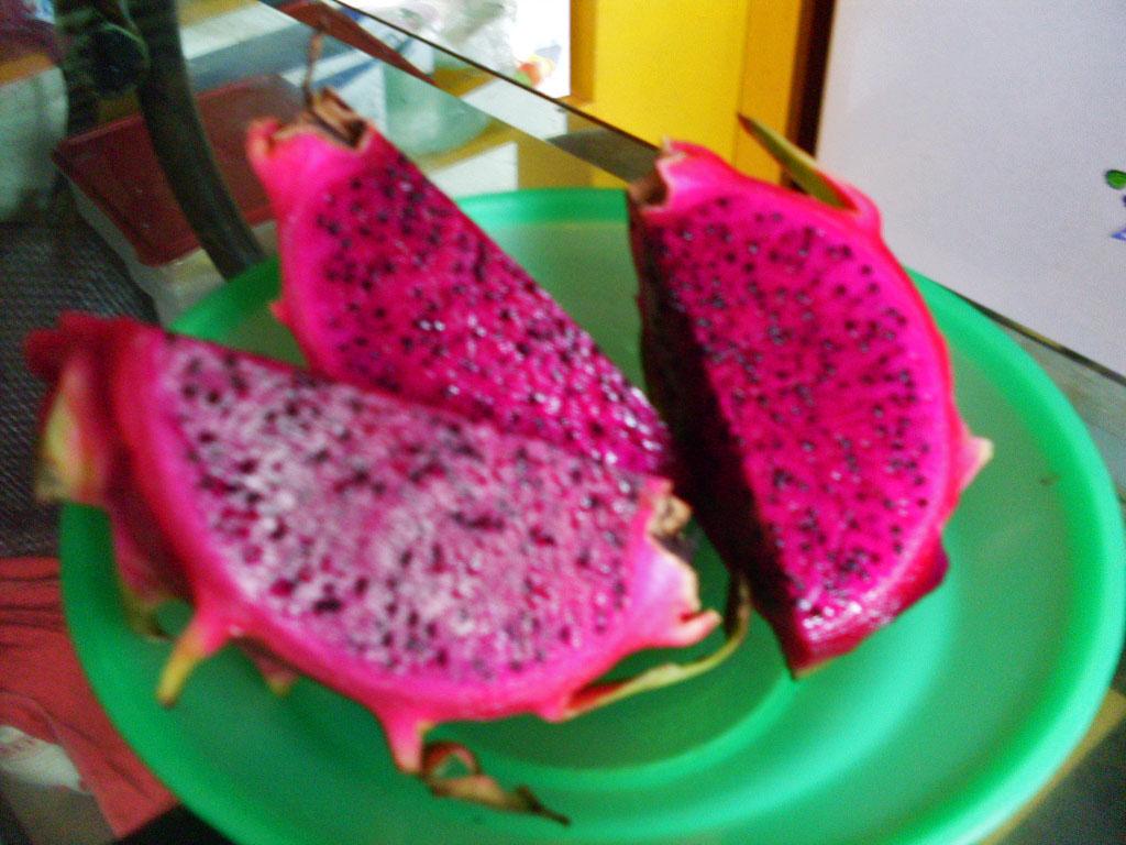 """Pitaia vermelha, Buah naga ou """"fruta dragão"""", comprada na feira (Foto: Matheus Pinheiro de Oliveira e Silva)"""